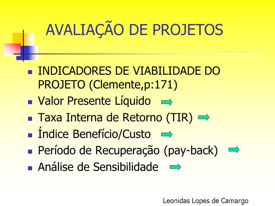 AVALIAÇÃO DE PROJETOS INDICADORES DE VIABILIDADE DO PROJETO (Clemente,p:171) Valor Presente Líquido.