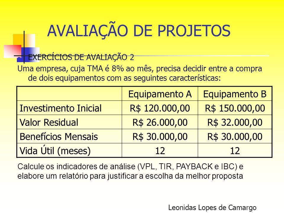 AVALIAÇÃO DE PROJETOS Equipamento A Equipamento B Investimento Inicial