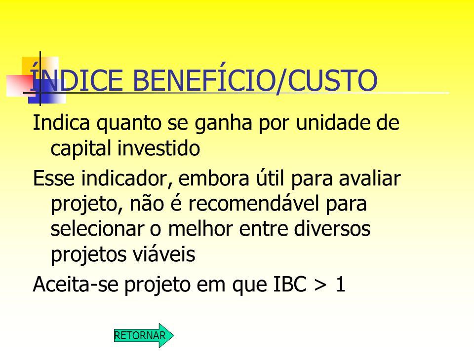 ÍNDICE BENEFÍCIO/CUSTO