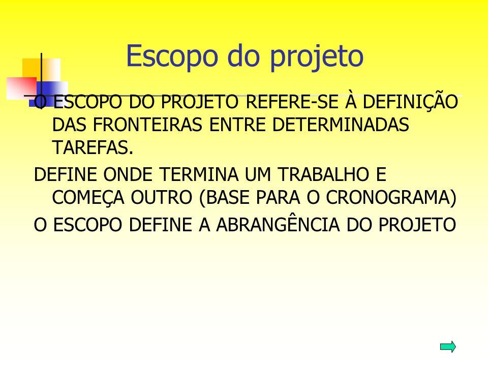 Escopo do projeto O ESCOPO DO PROJETO REFERE-SE À DEFINIÇÃO DAS FRONTEIRAS ENTRE DETERMINADAS TAREFAS.