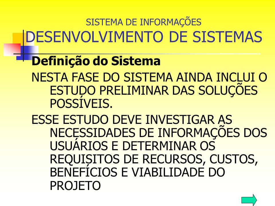 SISTEMA DE INFORMAÇÕES DESENVOLVIMENTO DE SISTEMAS