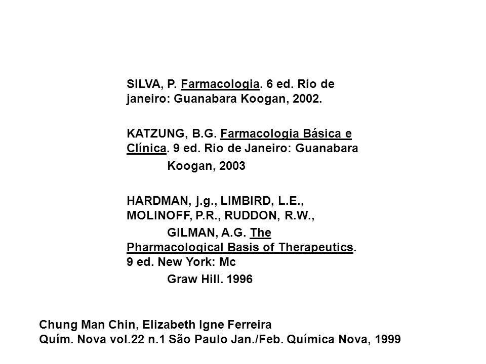 SILVA, P. Farmacologia. 6 ed. Rio de janeiro: Guanabara Koogan, 2002.