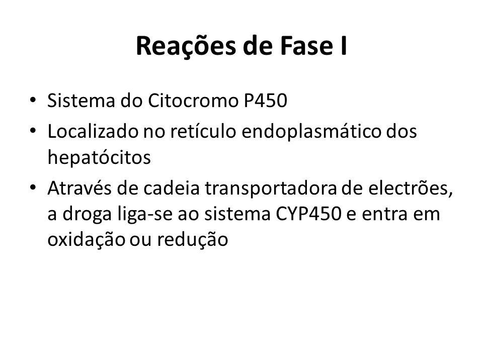 Reações de Fase I Sistema do Citocromo P450