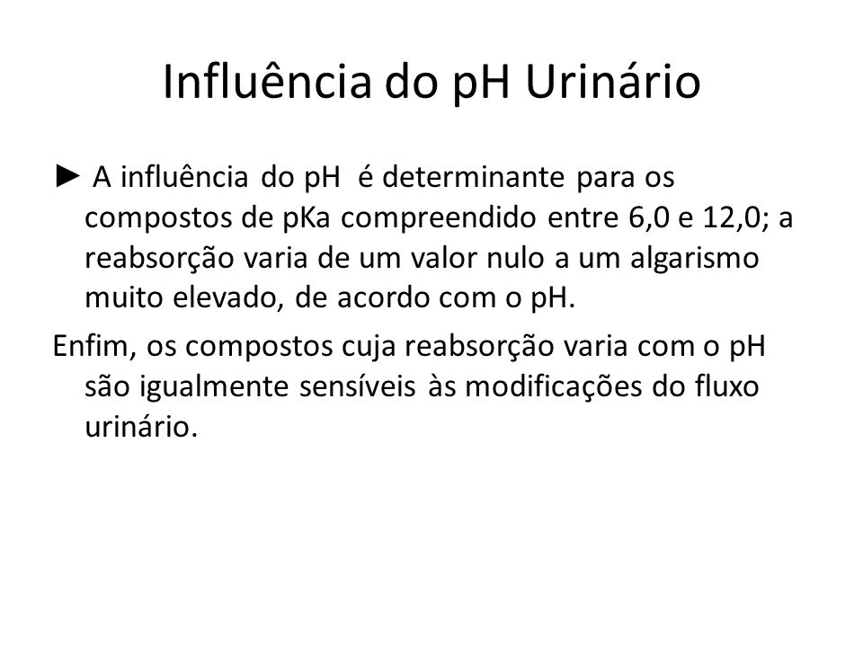 Influência do pH Urinário