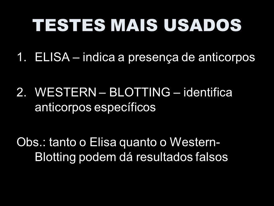 TESTES MAIS USADOS ELISA – indica a presença de anticorpos
