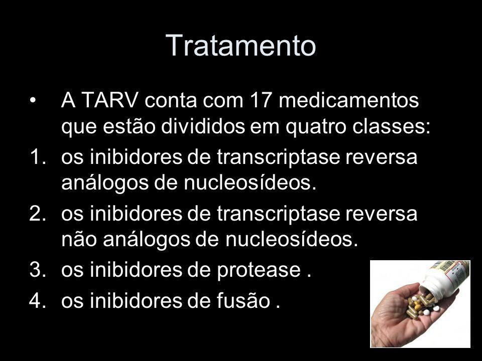 Tratamento A TARV conta com 17 medicamentos que estão divididos em quatro classes: os inibidores de transcriptase reversa análogos de nucleosídeos.