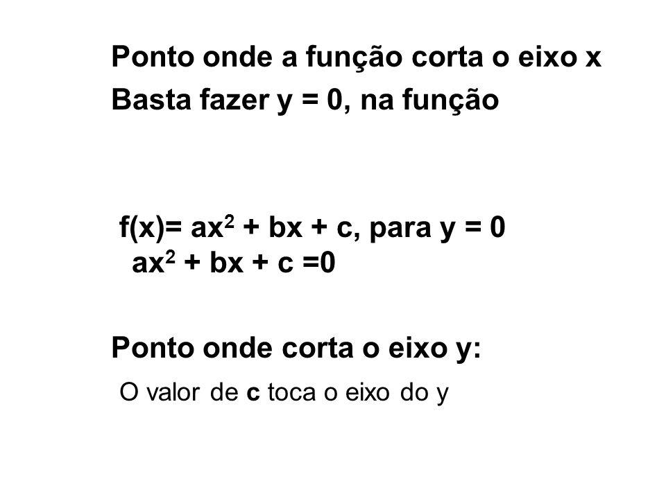 Ponto onde a função corta o eixo x