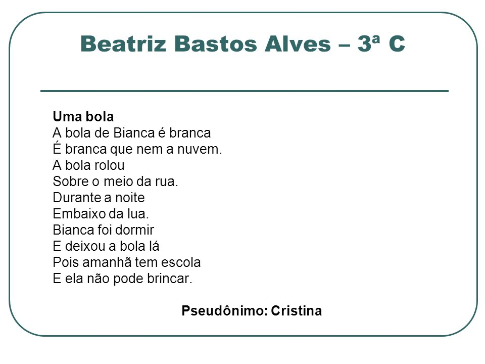 Beatriz Bastos Alves – 3ª C