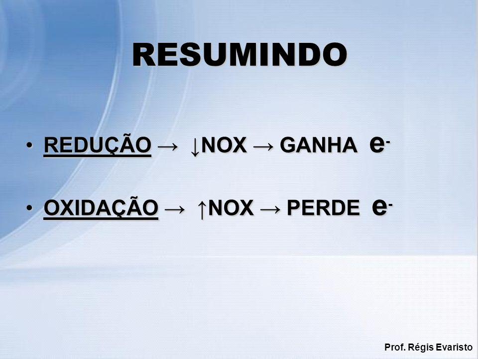 RESUMINDO REDUÇÃO → ↓NOX → GANHA e- OXIDAÇÃO → ↑NOX → PERDE e-