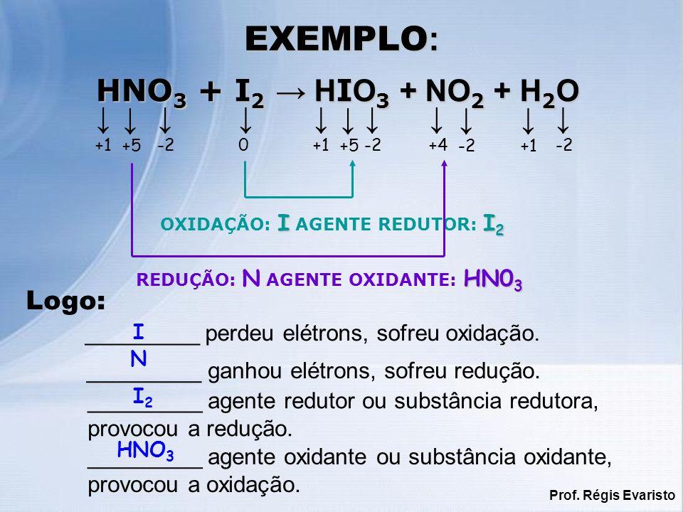 EXEMPLO: HNO3 + I2 → HIO3 + NO2 + H2O ↓ ↓ ↓ ↓ ↓ ↓ ↓ ↓ ↓ ↓ ↓ Logo: