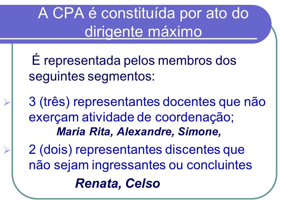 A CPA é constituída por ato do dirigente máximo