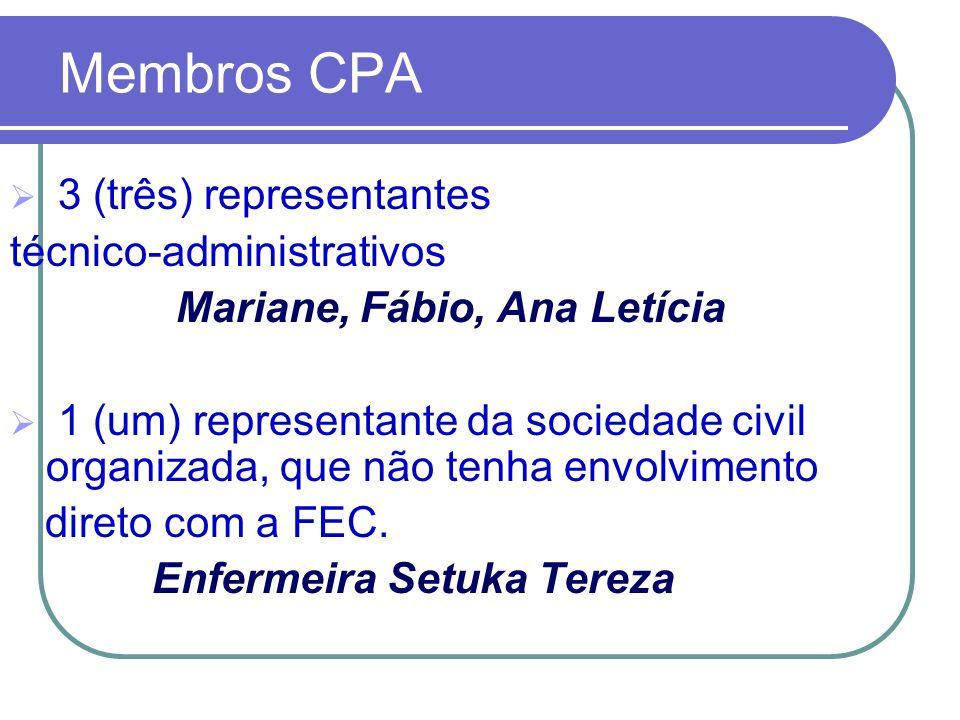 Membros CPA 3 (três) representantes técnico-administrativos