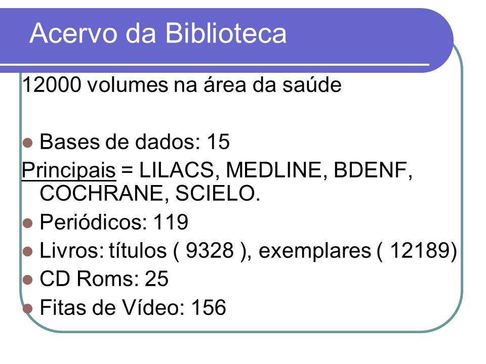 Acervo da Biblioteca 12000 volumes na área da saúde Bases de dados: 15