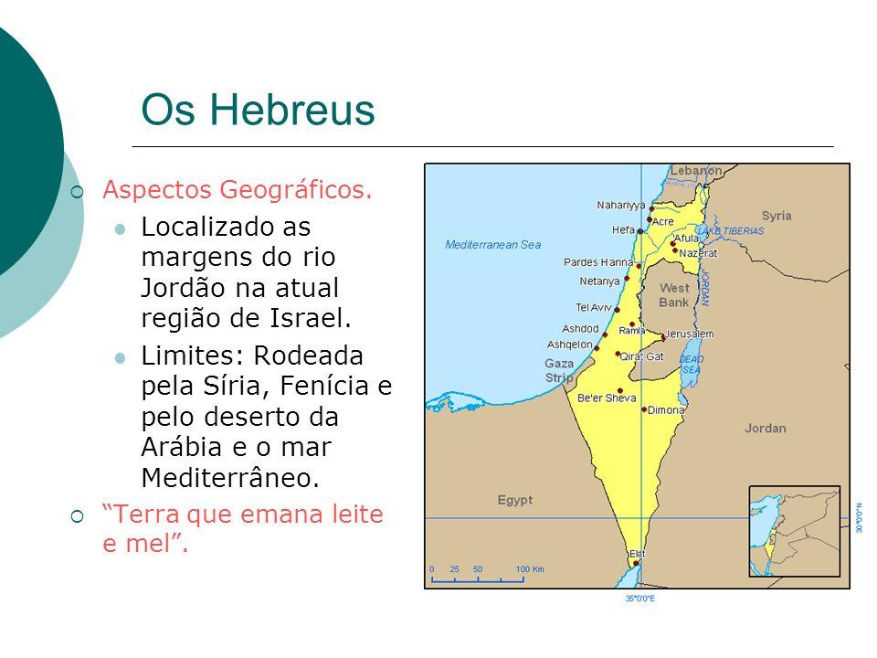 Os Hebreus Aspectos Geográficos. Localizado as margens do rio Jordão na atual região de Israel.