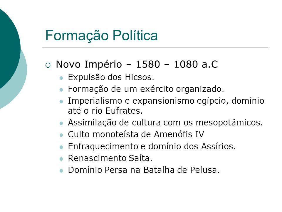 Formação Política Novo Império – 1580 – 1080 a.C Expulsão dos Hicsos.