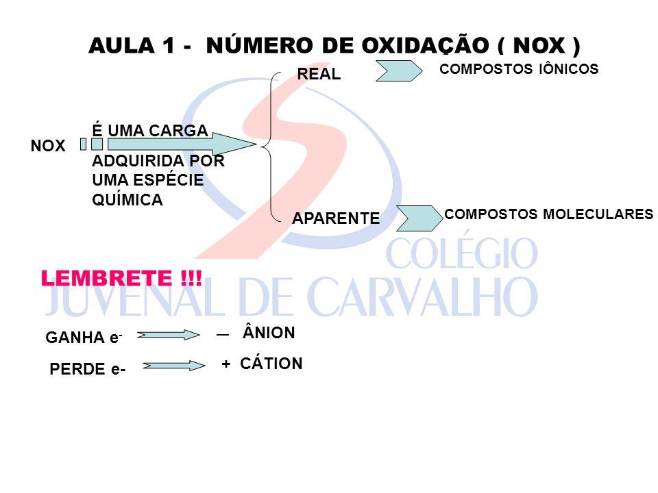 AULA 1 - NÚMERO DE OXIDAÇÃO ( NOX )