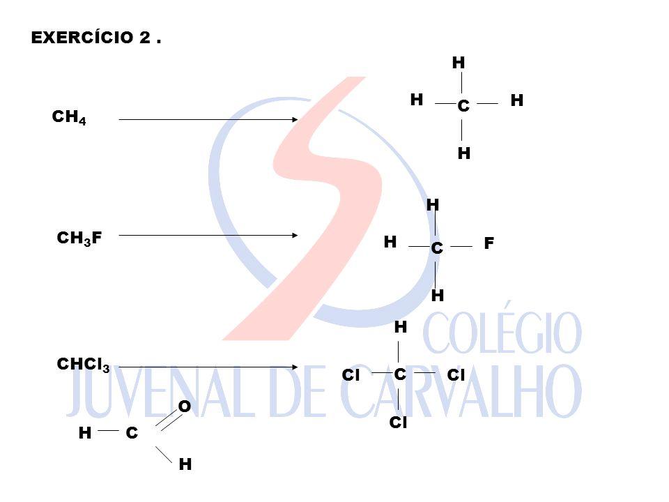 EXERCÍCIO 2 . H H C H CH4 H H H CH3F F C H H C CHCl3 Cl Cl H C O H Cl