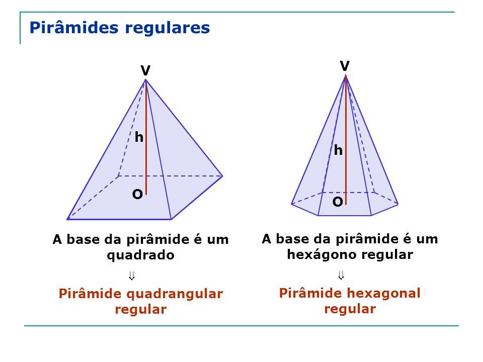 Pirâmides regulares V V h h O O ⇒ ⇒ A base da pirâmide é um quadrado