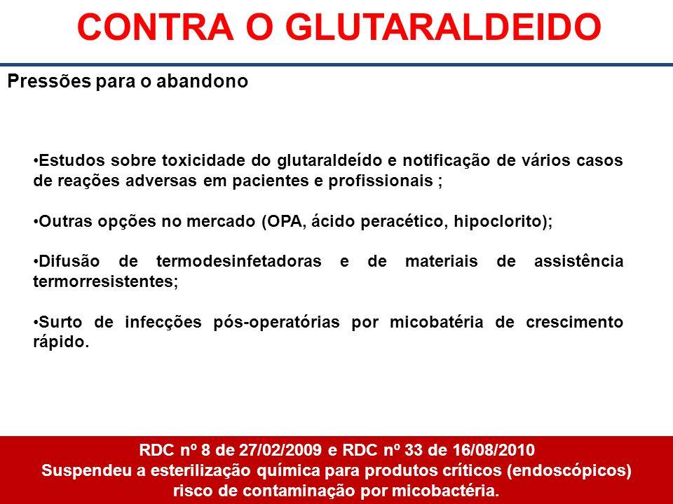 CONTRA O GLUTARALDEIDO risco de contaminação por micobactéria.