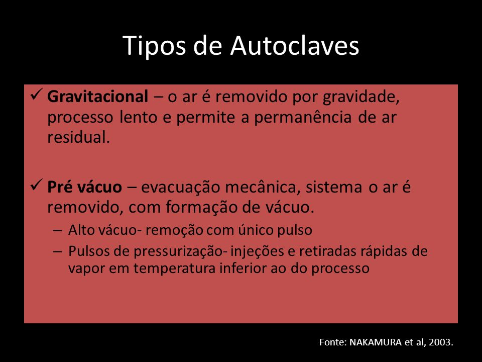 Tipos de Autoclaves Gravitacional – o ar é removido por gravidade, processo lento e permite a permanência de ar residual.