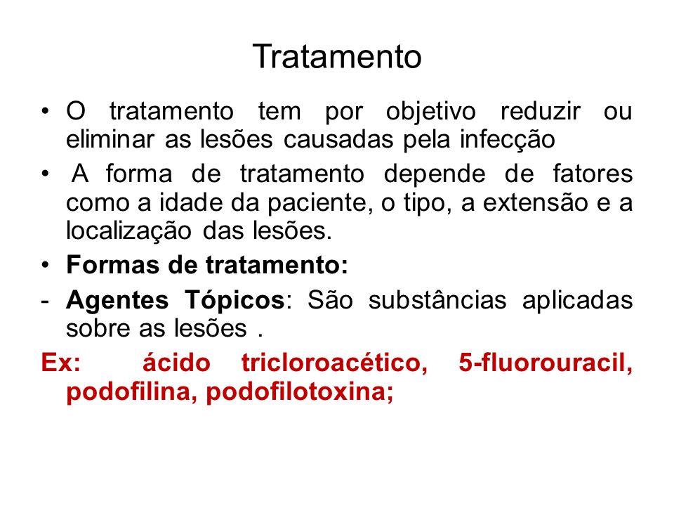 Tratamento O tratamento tem por objetivo reduzir ou eliminar as lesões causadas pela infecção.
