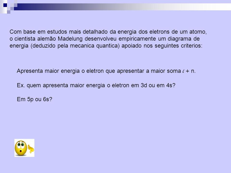 Com base em estudos mais detalhado da energia dos eletrons de um atomo, o cientista alemão Madelung desenvolveu empiricamente um diagrama de energia (deduzido pela mecanica quantica) apoiado nos seguintes criterios: