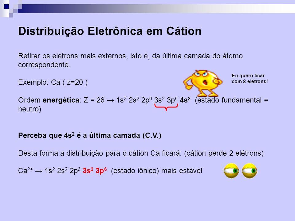 Distribuição Eletrônica em Cátion