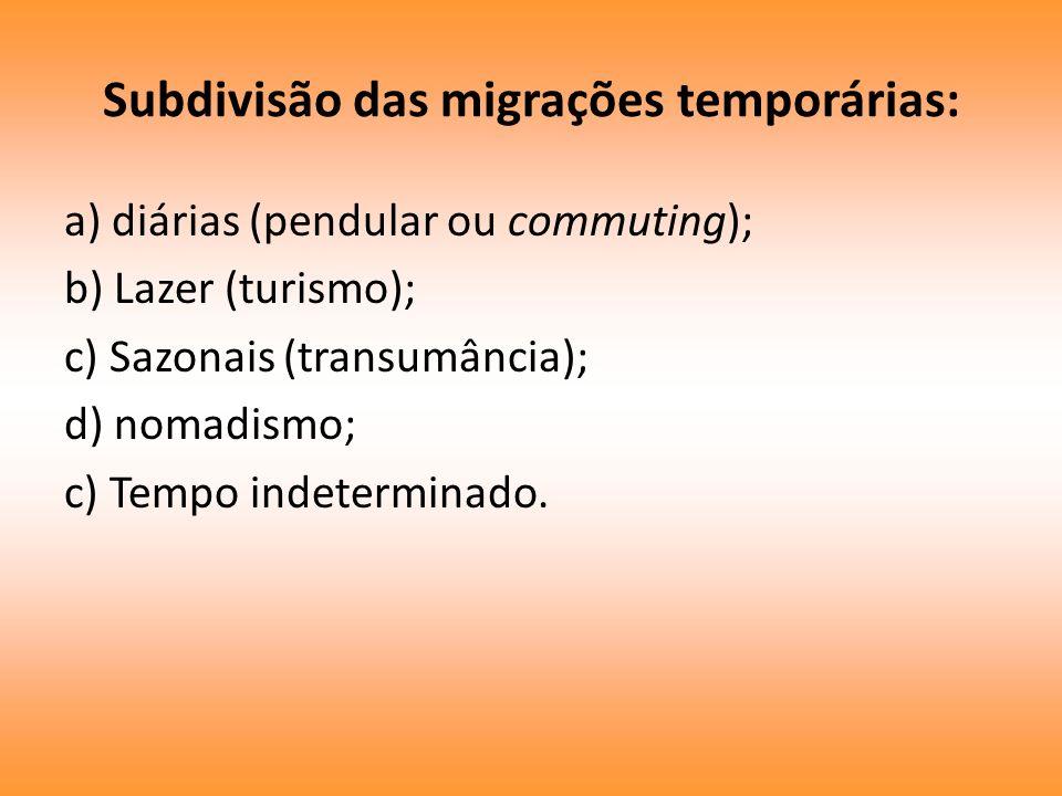 Subdivisão das migrações temporárias: