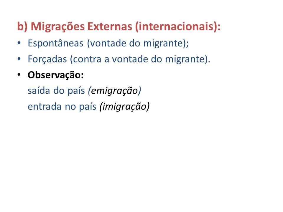 b) Migrações Externas (internacionais):
