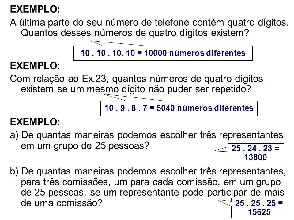 EXEMPLO: A última parte do seu número de telefone contém quatro dígitos. Quantos desses números de quatro dígitos existem