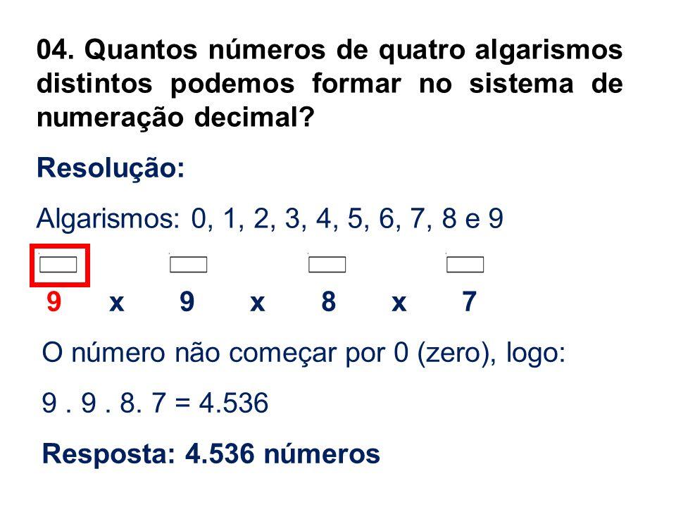 O número não começar por 0 (zero), logo: 9 . 9 . 8. 7 = 4.536