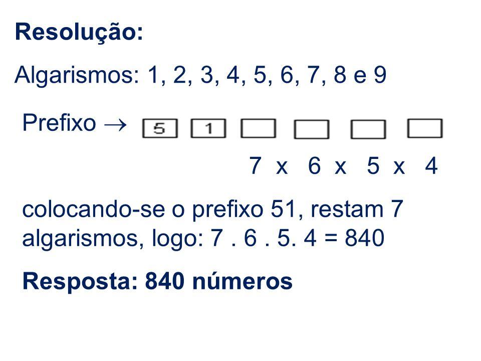 Resolução: Algarismos: 1, 2, 3, 4, 5, 6, 7, 8 e 9. Prefixo ® 7 x 6 x 5 x 4.