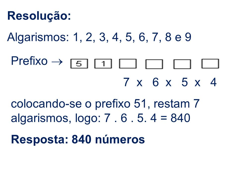 Resolução:Algarismos: 1, 2, 3, 4, 5, 6, 7, 8 e 9. Prefixo ® 7 x 6 x 5 x 4.