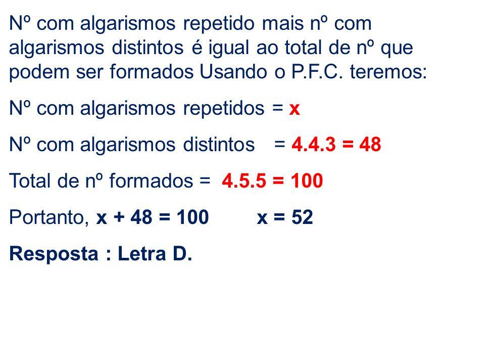 Nº com algarismos repetido mais nº com algarismos distintos é igual ao total de nº que podem ser formados Usando o P.F.C. teremos: