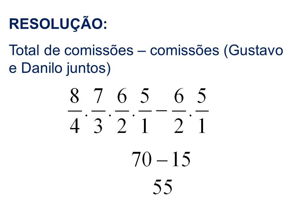 RESOLUÇÃO: Total de comissões – comissões (Gustavo e Danilo juntos)