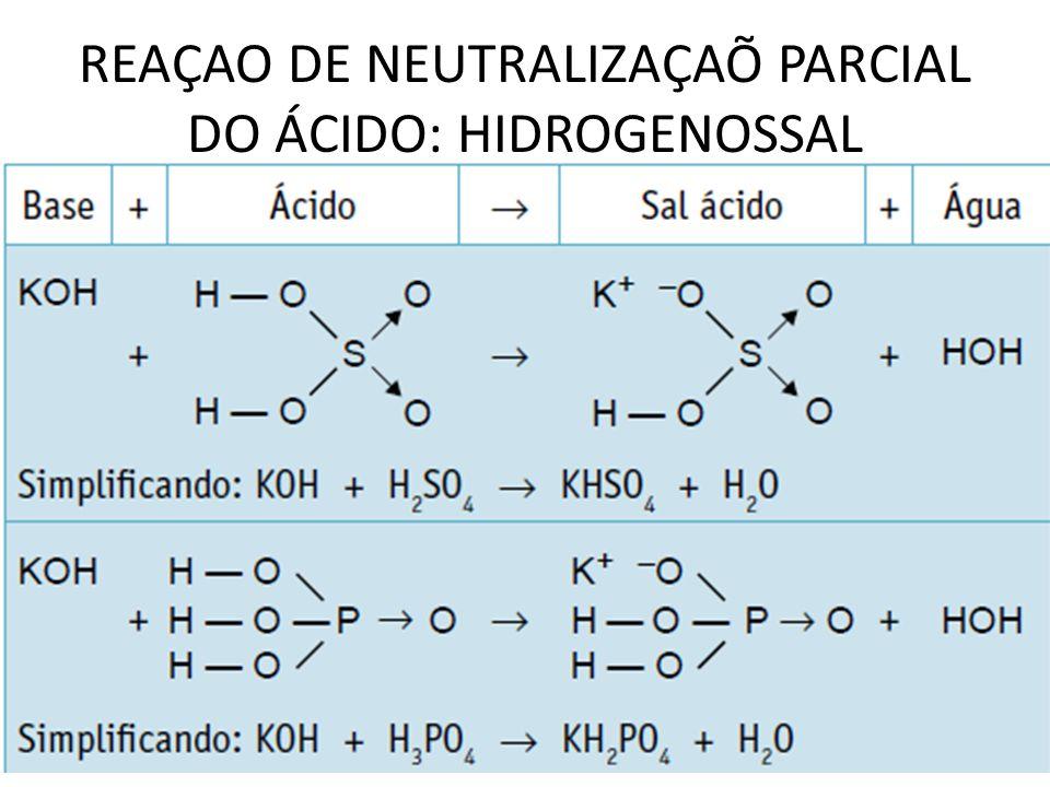 REAÇAO DE NEUTRALIZAÇAÕ PARCIAL DO ÁCIDO: HIDROGENOSSAL