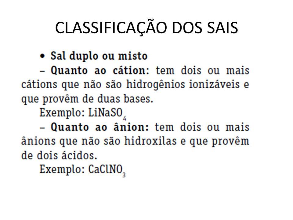 CLASSIFICAÇÃO DOS SAIS