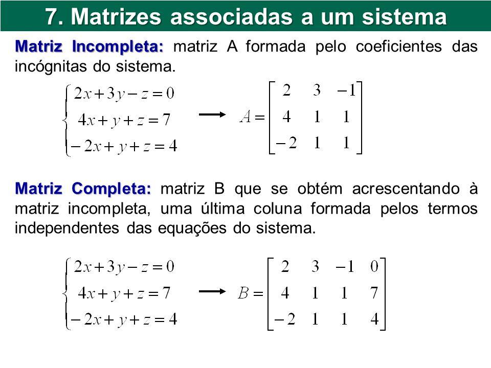 7. Matrizes associadas a um sistema