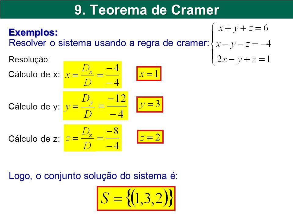 9. Teorema de Cramer Exemplos: