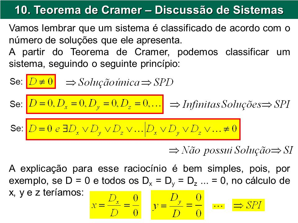 10. Teorema de Cramer – Discussão de Sistemas
