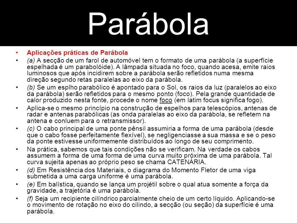 Parábola Parábola Aplicações práticas de Parábola
