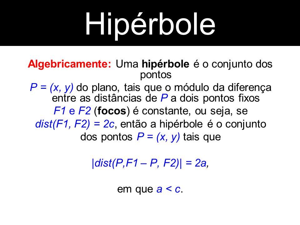 Hipérbole Hipérbole. Algebricamente: Uma hipérbole é o conjunto dos pontos.
