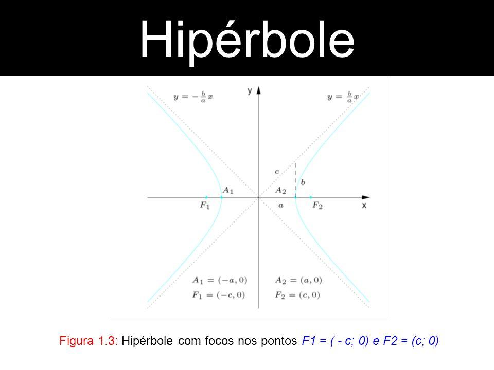 Hipérbole Hipérbole Figura 1.3: Hipérbole com focos nos pontos F1 = ( - c; 0) e F2 = (c; 0)