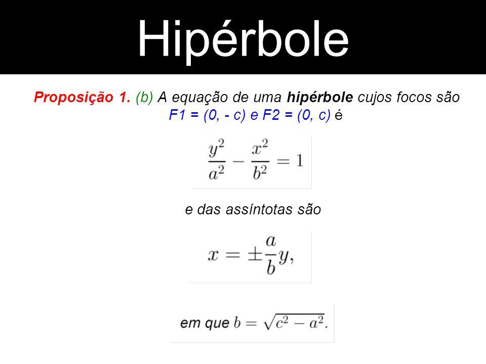 Hipérbole Hipérbole. Proposição 1. (b) A equação de uma hipérbole cujos focos são F1 = (0, - c) e F2 = (0, c) é.
