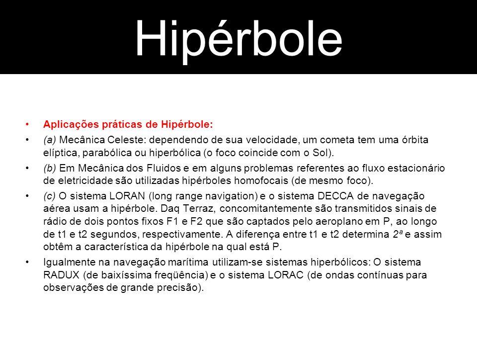 Hipérbole Parábola Aplicações práticas de Hipérbole: