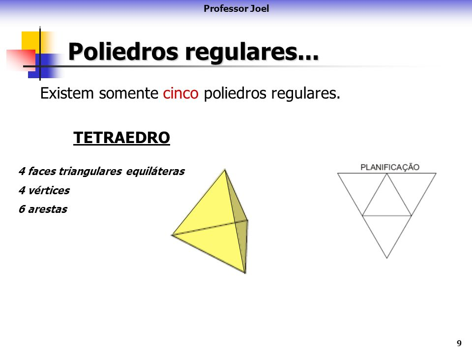 Poliedros regulares... Existem somente cinco poliedros regulares.