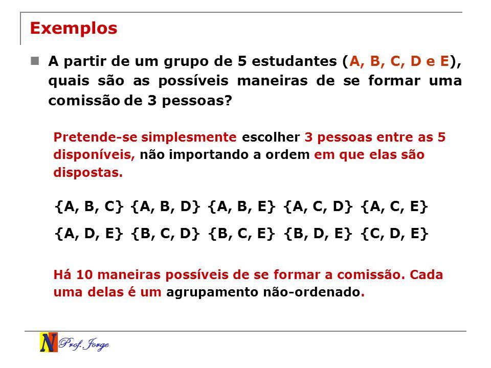 Exemplos A partir de um grupo de 5 estudantes (A, B, C, D e E), quais são as possíveis maneiras de se formar uma comissão de 3 pessoas