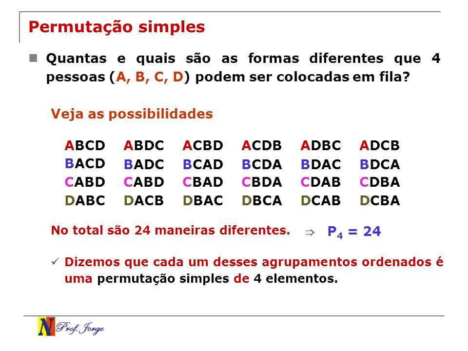 Permutação simples Quantas e quais são as formas diferentes que 4 pessoas (A, B, C, D) podem ser colocadas em fila