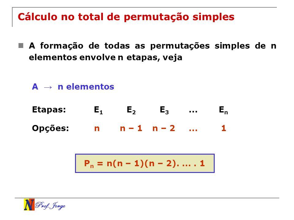 Cálculo no total de permutação simples