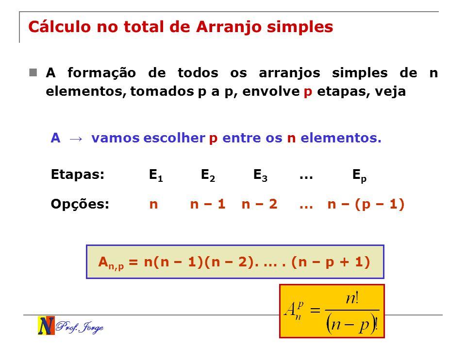 Cálculo no total de Arranjo simples